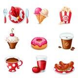 Voedselpictogrammen Stock Afbeeldingen
