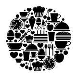 Voedselpictogrammen in cirkel Stock Afbeelding