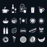 Voedselpictogrammen, dunne lijnstijl, vlak ontwerp vector illustratie