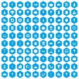 100 voedselpictogrammen geplaatst blauw Stock Afbeeldingen