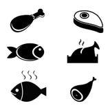 Voedselpictogrammen - Vastgestelde vectorillustrator Stock Afbeelding