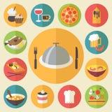 Voedselpictogrammen voor het koken worden geplaatst, restaurant, snel voedsel dat Royalty-vrije Stock Afbeelding