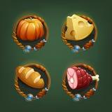 Voedselpictogrammen voor spelen royalty-vrije illustratie