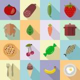 Voedselreeks diverse pictogrammen bij het koken Vruchten, groenten, bessen, vleesreeks van gekleurde pictogrammen Stock Fotografie