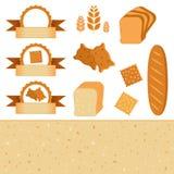 Voedselreeks pictogrammen en etiketten - elementen voor bakkerij Vectorinzameling van baksel Royalty-vrije Stock Foto's