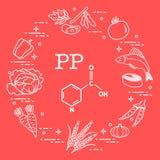 Voedselrijken in vitamine pp Stock Foto's