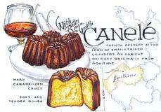 Voedselschets Canele stock illustratie