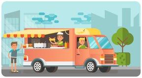 Voedselvrachtwagen en klant het kopen maaltijd, vlakke vectorillustratie Stock Fotografie