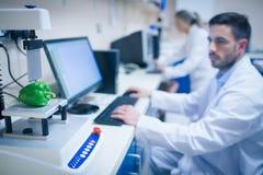 Voedselwetenschapper die technologie gebruiken om peper te analyseren Royalty-vrije Stock Afbeeldingen