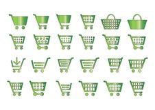 Voeg aan groene toe karpictogrammen Stock Afbeelding