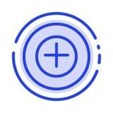 Voeg, meer, plus het Blauwe Pictogram van de Gestippelde Lijnlijn toe vector illustratie