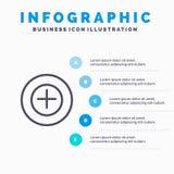 Voeg, meer, plus Lijnpictogram met infographicsachtergrond van de 5 stappenpresentatie toe stock illustratie