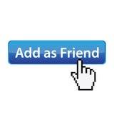 Voeg toe als vriend - sociale plaatsknoop Stock Afbeeldingen