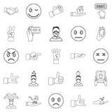 Voelend geplaatste pictogrammen, schets stijl Stock Fotografie