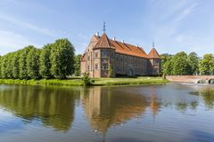 Voergaard Castle near Dronninglund on the North Jutland peninsula. In north-western Denmark stock image