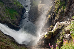 Voeringfossen waterfall on a sunny evening Stock Photo