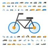 Voertuig en Vervoerspictogramreeks Stock Foto