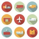 Voertuig, vervoer en logistiek vlakke pictogrammen. Stock Foto's