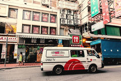 Voertuigen op de straat van Hong Kong Royalty-vrije Stock Afbeeldingen
