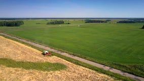 Voertuigenaandrijving langs landelijke weg voorbij tarwelandbouwgrond stock videobeelden