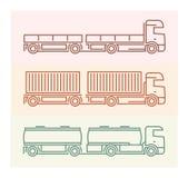 Voertuigpictogrammen: Europese Vrachtwagens - Tandems 1 Stock Foto