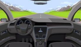 Voertuigsalon, de binnenmening van de autobestuurder met leidraad, dashboard en weg, landschap in windscherm Drijfsimulatorvector stock illustratie