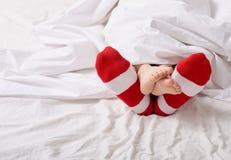 Voet in de sokken Stock Foto