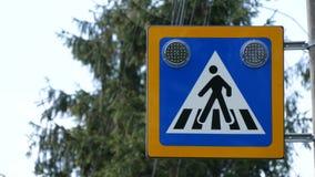 Voet de verlichting en de waarschuwingsautobestuurders van het zebrapadteken om voorzichtigheid te zijn stock footage