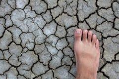 Voet het lopen droogtengrond Stock Foto's