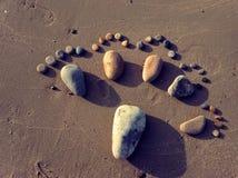Voet, kiezelsteen, zand, kunst, strand Stock Fotografie