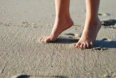 Voet op het strand Stock Foto