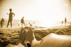 voet op strand Royalty-vrije Stock Fotografie
