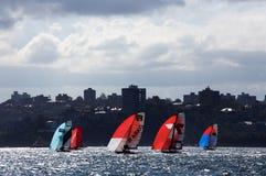 18 voet skiff op Sydney Harbour Stock Foto's