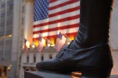 Voet van standbeeld van George Washington op Wall Street Stock Afbeelding