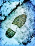 Voetafdruk in de sneeuw Royalty-vrije Stock Fotografie