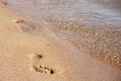 Voetafdruk in het zand Stock Afbeelding