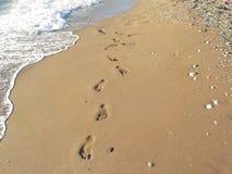 Voetafdruk in het zand royalty-vrije stock foto's