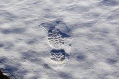 Voetafdruk op de sneeuw stock foto's