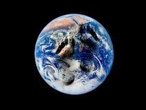 Voetafdruk op de wereld Stock Foto