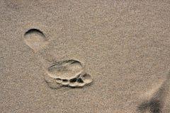 Voetafdruk op een zand Royalty-vrije Stock Foto