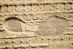 Voetafdruk op een zand Stock Foto's