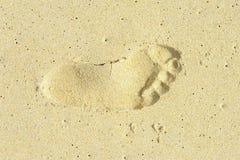 Voetafdruk op het strand Royalty-vrije Stock Afbeelding
