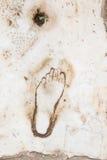 Voetafdruk op Marmer voor reclame van het Bordeel in Ephesus, Stock Foto's