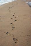 Voetafdruk op zand Stock Afbeeldingen