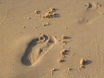 Voetafdruk op zand stock foto's
