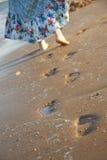 Voetafdruk in strand Stock Fotografie