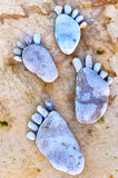Voetafdruk van stenen Stock Afbeeldingen
