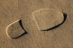 Voetafdruk in zand op strand royalty-vrije stock foto's