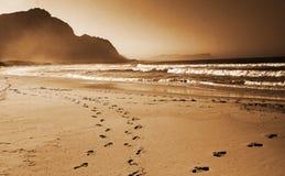 Voetafdrukken in het zand op Royalty-vrije Stock Foto