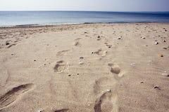 Voetafdrukken op een strand. royalty-vrije stock foto